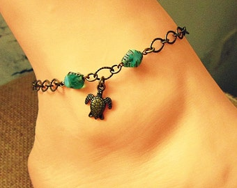 Sea Turtle Anklet, Beach Anklets With Turtle, Sea Turtle Jewelry, Sea Turtle Gifts, Sea Turtle Ankle Bracelet, Ankle Jewelry, Boho Anklet