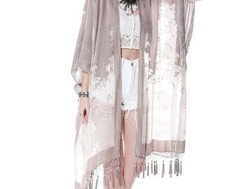 Desert Angel Floral Velvet Burnout Tassel Kimono