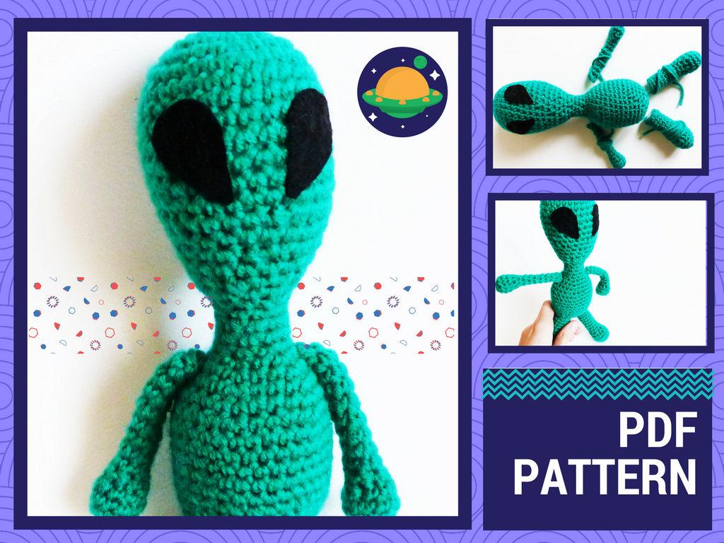 CROCHET PATTERN, amigurumi Alien, crochet Alien pattern, Alien amigurumi pattern, Alien doll PDF pattern to print