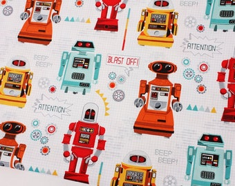 Galaxy Robots printed Fabric by Henley Studio Makower Fabric by the Half Yard