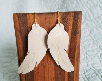 Fly Away With Me Hand-Painted Grey and Gold Leather Earrings