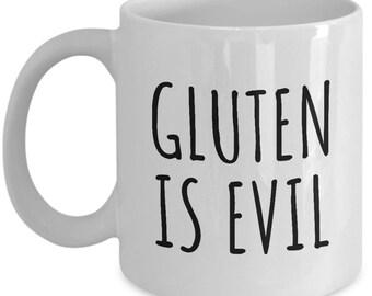 Gluten Free Ceramic Mug - Gluten Free Gift Idea - Celiac Disease Awareness - Gluten Is Evil