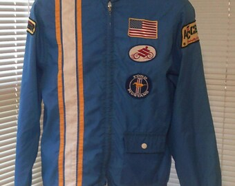Vintage Ford Mustand Blue Nylon Racing jacket XL