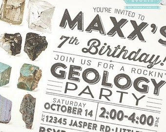 Geology Birthday Party Invitation + Our 4 Favorite Printables!