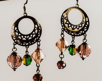 Dangle earrings antiqued bronze Bollywood style beaded earrings