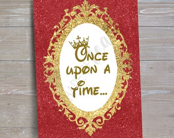 """Disney Beauty & the Beast, Princess """"Once Upon a Time"""" Sign // INSTANT DOWNLOAD // Party Decor // Printable, Digital"""