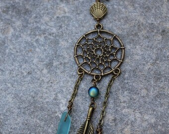 Boho Beach Dream catcher Necklace - Sea Glass - Bronze Boho Necklace - Mermaid Jewelry