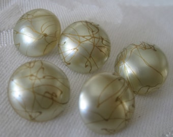 Set of 5 VINTAGE Pearl Frosted Gold Thread Glass BUTTONS