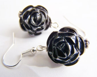 FREE Shipping WAI - Carved Black Roses - Ornate lightweight Earrings - beautiful gift - love - affordable gifts - beach - winter sale spring