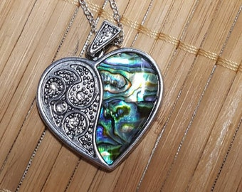 Heart Pendant, Heart Necklace, Abalone Necklace, Abalone Shell, Abalone Jewelry, Heart Jewelry, Abalone Pendant,Silver Heart,Heart Jewellery