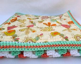 Coral reef crochet baby blanket, granny square reversible crochet baby blanket