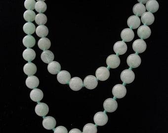 Aventurine Bead Necklace Hand Knotted Mint Jade Green Beads Opera Flapper Length