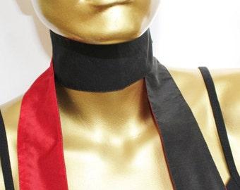 Reversible skinny scarf - thin neck scarf - narrow scarf - red SILK skinny scarf black silk - double sided
