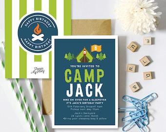 Camping Birthday Invitation (Personalised Printables) Sleepover Invites
