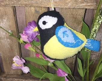 Noialand Wool Felt  Hand Sewn Great Tit Ornament keychain decor