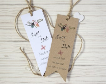 Rustic Save the Date Bookmarks with envelopes