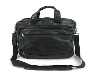 Dads Grads Sale Hartmann Black Leather Combination Briefcase Travel Bag Luggage Shoulder Bag Made In U.S.A. - Vgc