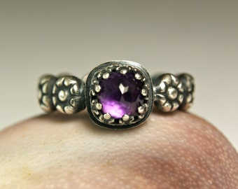 Cushion Cut Amethyst Ring, Sterling Silver Goth Style Gemstone Jewelry, Bohemian Stacking Ring