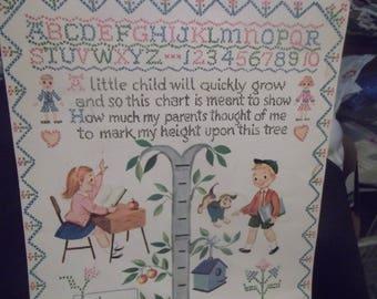 1950's Juvenile Child's Hanging Growth Chart~~Cross-Stitch Design