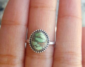 Size 6 Australian Variscite, Variscite Ring, Gemstone Ring, Boho Ring, Sterling Silver Ring