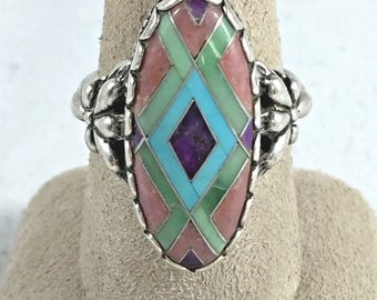 Southwest Carolyn Pollock Sterling Mosaic Ring - Size 7 1/4