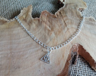 """Harry Potter inspired silver plated deathly hallows charm anklet 9-11"""" - ankle bracelet / body jewellery"""