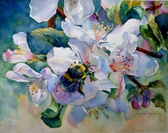 Apple Blossoms with Bumble Bee, Original Watercolor Painting, Floral Garden Art for Home Decor
