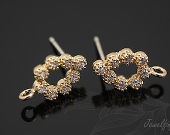 K664-Gold Plated -10 pairs-CZ