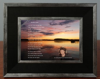 Customized Broken Chain Sympathy Poem with Photo of Loved One|Personalized Digital Photo Sympathy Gift