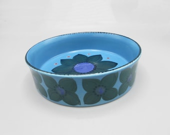 Arabia Finland Hilkka-Liisa Ahola BowlCassorole Painted Flowers Blue Purple Olive Green Pink Accents
