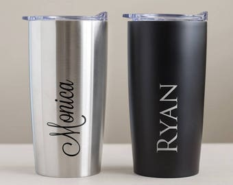 Custom Engraved Stainless Steel Tumbler: Personalized Tumbler, Coffee Travel Mug, Staff Employee Gifts, Groomsmen Gifts, SHIPS FAST