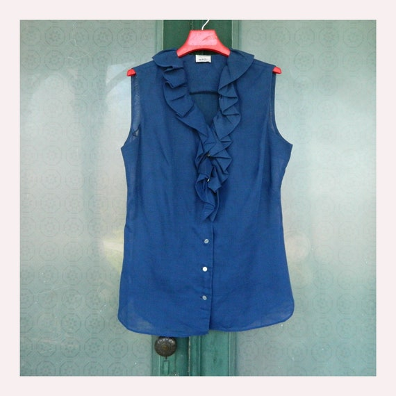 Vintage 1970s Sleeveles Ruffle Blouse -13/14- Navy Blue Cotton