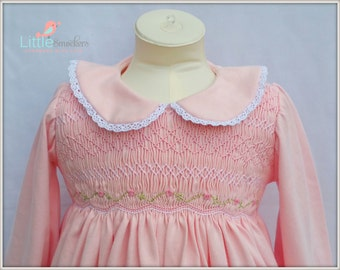 Beautiful baby girls pink cotton knit hand smocked and embroidered dress - Size 3