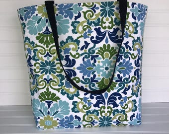 Blue-Green Floral Tote | Handmade Everyday Tote | Market Bag