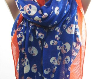 Skull Scarf Cotton Blue Orange Scarf Shawl Halloween Day of the Dead Scarf  Fashion Accessories Gift For Women Gift For Her Gift For Mom