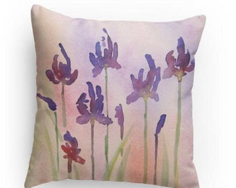 Abstract Iris pillow, 18x18, Watercolor Design, Original Watercolor Design, Throw Pillow, Home Decor, Gift, Decorative Pillow