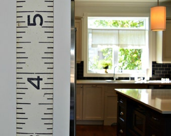 The Brimfield Growth Chart: oversized giant canvas industrial-look keepsake that is a vintage wooden ruler reproduction