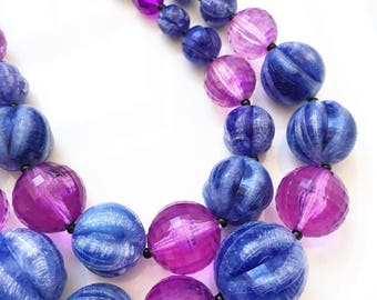 vintage blue crackle and purple globular acrylic graduating chunky bead necklace made in Germany