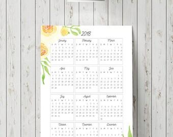 2018 Calendar Wall, Yellow Rose, Home Decor, Art Print, Digital Calendar, Printable Calendar, Watercolor Flowers,Flower Art,Digital Download