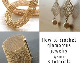 How to wire crochet glamorous jewelry tutorials crochet patterns tube necklace pearl drop earrings wide cuff bracelet