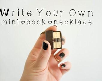 Custom book jewelry, mini book necklace, mini book pendant, mini leather book, bibliophile, bookish, custom mini book, literary necklace