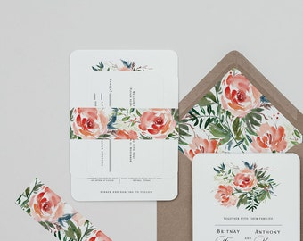 Red Rose Floral Wedding Invitation Template,Rustic Floral Wedding Invitation Digital Download,Red Floral Wedding Printable Invitation Set
