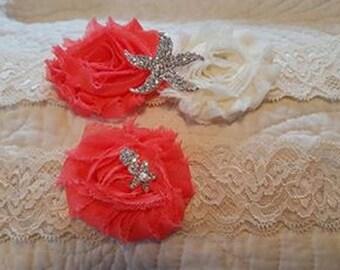 Ivory and Coral Starfish Garter Set - Beach Wedding Garter - Tropical Wedding Garter