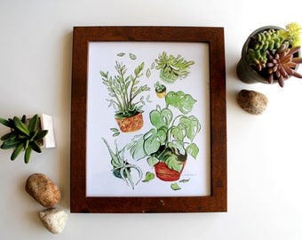My Plants, Houseplants, Art Print, Wall Decor, Watercolour, 8x10