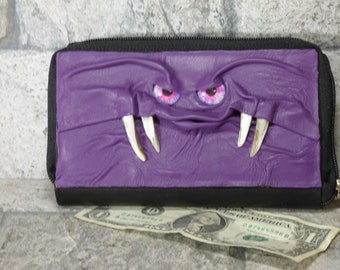 Wallet Woman Clutch With Monster Face Double Zippered Organizer Purple Black Leather  235