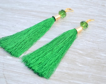 Green Tassel Earrings, Boho Earrings, Fringe Earrings, Bohemian Jewelry, Tassel Earrings with Green Crystal Beads, Green Earrings