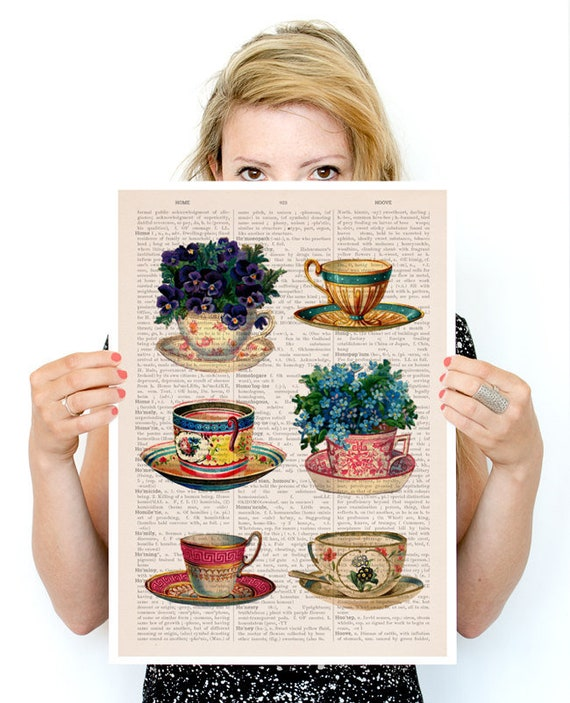 Vintage tea cups collection poster, Tea cup art, Kitchen art, art, Wall art, Wall decor, Kitchen wall art, Poster, TVH230PA3