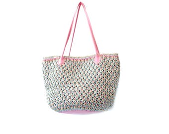Straw beach bag basket woven bag raffia crochet purse boho straw bag pink boho bag purse straw tote bag boho straw bag woven beach bag raphy