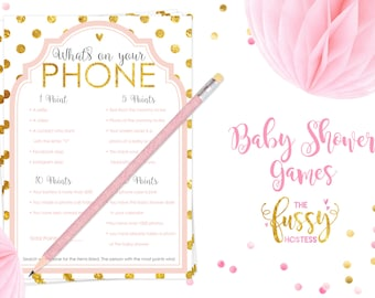 What's on Your Phone Baby Shower Game, Baby Shower Printable Game, Instant Download, Baby Shower Games, Printable Games, Pink and Gold