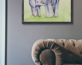Elephants 2nd watercolor Art Print, Wildlife Art, Mom and Baby, African, Asian